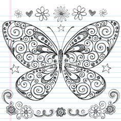 Hand-Drawn Sketchy Doodle Butterfly