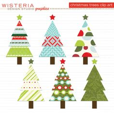 Christmas Trees Red Green Blue Ivory by WisteriaDesignStudio Whimsical Christmas, Etsy Christmas, Christmas Holidays, Christmas Crafts, Christmas Decorations, Christmas Ornaments, Christmas Trees, Silver Christmas, Christmas Clipart Free