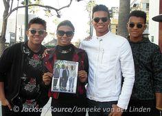 "Jermajesty, Genevieve Jackson,  Randy Jackson Jr. and Jaafar Jackson are pictured with the ""Jackson Magazine 2013 Edition"" By Jackson Source Featuring Tito, Jackie, Marlon, and Jermaine Jackson."