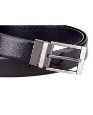 The black version of the snake leather belt just might be even more adaptable to any look – as if the brown version is not already dynamic enough. Black has always been the go-to color for that smart corporate look; if you're looking to stock up on a belt that looks and feels exquisite, this is the belt for you. The reversible buckle works perfectly as you switch sides depending on your preference.