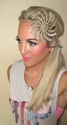Red Lace Black Feather Flapper Gold 1920s Hair Head Band Choochie Great Gatsby