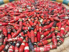 500 Red Hand Rolled Paper Beads Fair Trade by NyakaGrandmotherShop