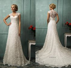 Amelia Sposa Backless 2016 Lace Plus Size Wedding Dresses Capped Sleeves Appliques Button Back Formal Bridal Gowns Empire Waist AS1268 Online with $149.49/Piece on Dressave's Store | DHgate.com
