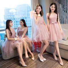 Bridesmaid dress sisters dress 2017 new Korean style pants Slim small dress short paragraph girl dancers host dress women