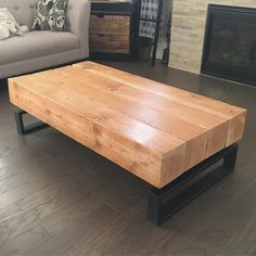 I made this coffee table from reclaimed timbers that framed a building that got torn down in my neighborhood. I fabricated the base from Steel tubing. Love it when I get free reign from my customers on projects. Dinning Room Tables, Dining Table Design, Coffee Table Design, Welded Furniture, Woodworking Furniture, Cool Furniture, Log Coffee Table, Solid Oak Coffee Table, Casa Top