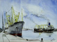 Sea Pictures, Tug Boats, Trident, Ship Art, Rotterdam, Painting, Scene, Venezuela, Ship