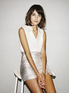 Skirt: alexa chung, metallic skirt, silver skirt, silver, white shirt, white top, mini skirt, date outfit, cute outfits, elegant, short hair, brunette - Wheretoget