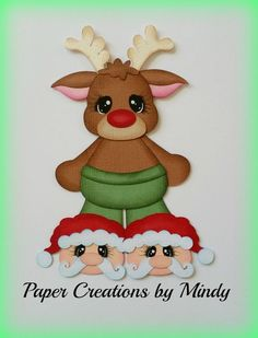 Craftecafe Mindy Christmas Reindeer premade paper piece scrapbook title diecut #PaperCreationsbyMindy