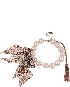 PINKTINA BIG PEARL LEOPARD RIBBON NECKLACE IVORY