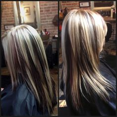 Light blonde, dark brown, dark red-violet.  Like the color (not for me though) and love the cut!