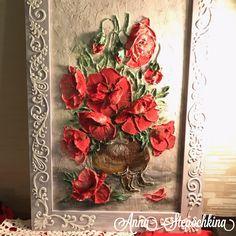 """Картина """"Маки"""" - скульптурная живопись! работа на заказ, картины на заказ, цветы, интерьер, дизайн, декор, декоратор, подарки#декоративнаяштукатурка #цветы #объемнаяживопись #sculpturepainting"""