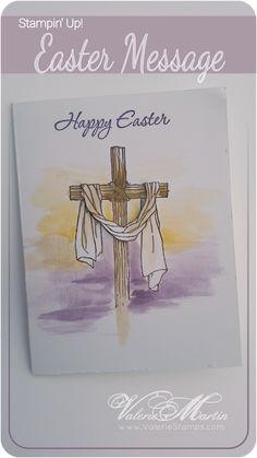valerie martin stampin up easter message water brush Jesus is risen