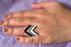 Chevron Stackable Ring Three Layers.