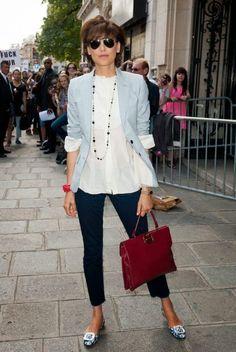 Ines de la Fressange is seemingly effortless, Parisian chic, has that je ne sais quoi in simple jackets, slim trousers, and flats Not Dead Yet Style