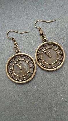 Steampunk Earrings, Antique Bronze Earrings, Large Clock Earrings, Dangle Earrings, Watch Earrings, Clock Dial, Gift For Her,  Goth Gift by TwiggyPeasticks on Etsy