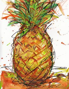 "Fine Art Print from Original Watercolor and India Ink Painting ""Pineapple Passion"""