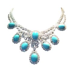 Turquoise Diamond Platinum Necklace | From a unique collection of vintage drop necklaces at https://www.1stdibs.com/jewelry/necklaces/drop-necklaces/