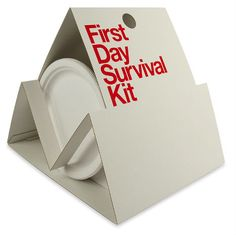"""First Day Survival Kit Designed by Turner Duckworth, United States """"Veidekke Bostad is one of the larger real estate companies in Scandinavia. The idea of the First Day Survival Kit was to take of some weight from the new apartment owner's shoulders. Branding, Direct Mailer, Real Estate Gifts, New Home Buyer, Survival Supplies, Survival Kits, Emergency Kits, Realtor Gifts, Client Gifts"""