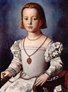 1542 - Mannerism (Late Renaissance) - Portrait of Bia de' Medici - Agnolo Bronzino Costume Renaissance, Renaissance Kunst, Renaissance Portraits, Renaissance Paintings, Galerie Des Offices, Photo Portrait, Italian Painters, Art Graphique, 16th Century