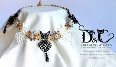 Lace cat flower bead and swarovski choker https://www.facebook.com/dragons.and.cats