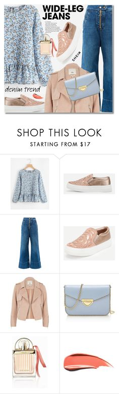 """""""Flare Up: Wide-Leg Jeans"""" by svijetlana ❤ liked on Polyvore featuring E L L E R Y, River Island, Saint Tropez, Chloé, denimtrend, widelegjeans and shein"""