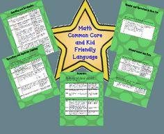 Free! Kindergarten Math Common Core List with Kid Friendly Language