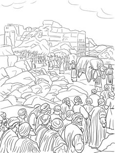 Joshua and the fall of Jericho. Bible coloring pages. | sunday ...