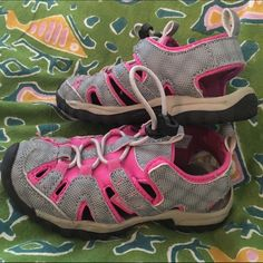 Toddler size 9 pink&gray gently used,in box $5  So adorable Northside toddler girls water sandals,however 1 side of tongue of shoe is in need of needle and thread.Other than that they are gently usedCLEAN Northside Shoes Sandals