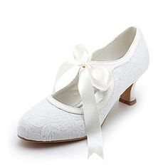 Women's+Shoes+Satin+Upper+Middle+Spool+Heel+Closed+Toe+Spool+Heel+Pumps+With+Ribbon+Tie+Wedding+Bridal+Shoes+–+GBP+£+30.79