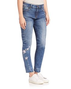 Tortoise | Blue Testudo Embroidered Twisted Slouchy Skinny Jeans | Lyst