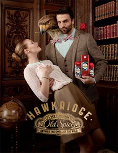 """Weird ad, awesome scent for dudes! Old Spice Hawkridge (text on the package: """"For guys with swift minds"""", """"Prepare to be kissed on the beak of man power"""")"""