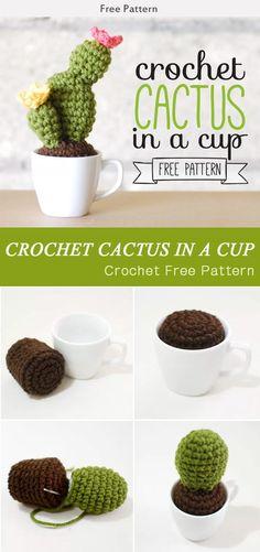 Crochet Cactus In A Cup Free Pattern #Freepattern #Flower #Crochet