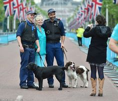 Queen Elizabeth's 90th Birthday Celebration June 12, 2016. Smiles: Kirkwood poses for a picture with the officers as the party feeling continues to build up around the event in London