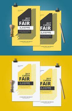 Career Fair Flyer Template AI, PSD Event Poster Design, Graphic Design Posters, Graphic Design Illustration, Graphic Design Inspiration, Flyer Design, Template Brochure, Event Flyer Templates, Corporate Invitation, Invitation Design