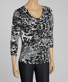 This Gray & White Zebra Drape Long-Sleeve Top is perfect! #zulilyfinds