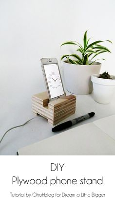 DIY plywood phone stand
