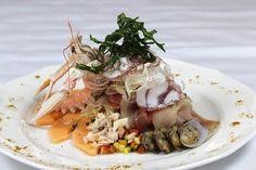 Millefoglie di pesci nobili, carpaccio di polpo locale e crostacei - ricetta inserita da Domenico Di Bella