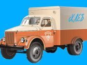 Bread Delivery Truck KHA 2-57 on Chassis GAZ-51 Free Vehicle Paper Model Download