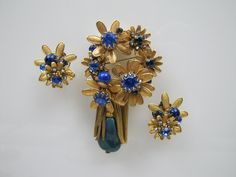 DeMario NY Gold Tassel Brooch & Earring Set. Huge Flower Corsage Design. Sapphire Blue Crystal Rhinestones With Baroque Pearl Drop c1950 by MercyMadge on Etsy