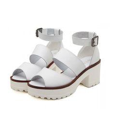 #White #Chunky #Platform #AnkleStrap #Sandals £34.99 @ ShanghaiTrends.co.uk  /  http://shanghaitrends.co.uk/white-chunky-platform-ankle-strap-sandals