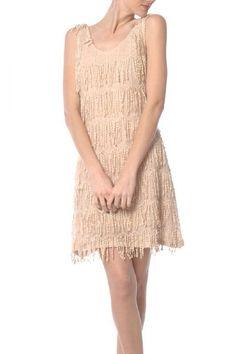 Peaches & Cream Fringe Dress