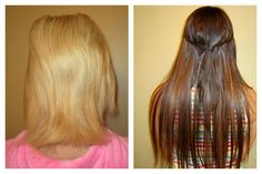 another color correction project before and after!... love the new rich brunette color with subtle highlighting... check out how those extensions blend with her short hair!