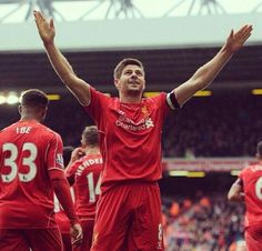 Thanking the Kop after scoring the winner - Captain Fantastic YNWA