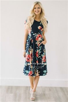Navy Tropical Floral Pocket Dress, Modest Dress Bridesmaids Dress, best modest boutique, cute modest clothes, modest dresses, best online modest boutique, floral dresses, modest dresses for church, modest skirts, buy modest clothes online