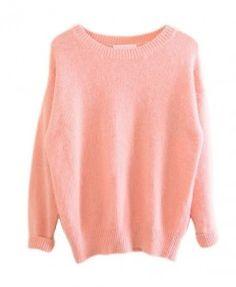 Classic Round Neckline Pure Color Pullover
