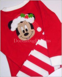 Girls Ms. Mouse Santa Christmas Pajamas - Personalization Available on Etsy, $34.00