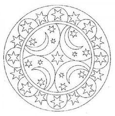 moon and star mandala coloring