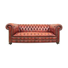 Vintage Red Leather Chesterfield Sofa