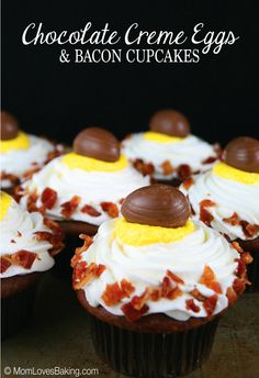 """What's better with """"eggs"""" than bacon. Sweet creamy chocolate with salty crunch of bacon all wrapped up in a cupcake. Yum!"""