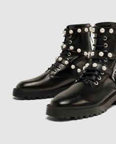 Image 1 of LEATHER ANKLE BOOTS WITH FAUX PEARLS from Zara